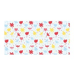 Seamless Colorful Flowers Pattern Satin Wrap