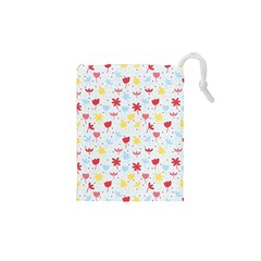 Seamless Colorful Flowers Pattern Drawstring Pouches (xs)