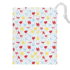 Seamless Colorful Flowers Pattern Drawstring Pouches (XXL)