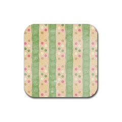 Seamless Colorful Dotted Pattern Rubber Coaster (Square)