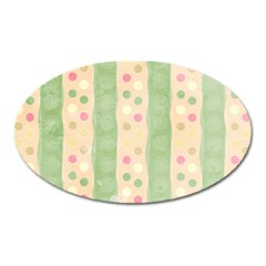 Seamless Colorful Dotted Pattern Oval Magnet