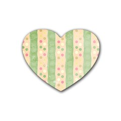 Seamless Colorful Dotted Pattern Rubber Coaster (Heart)