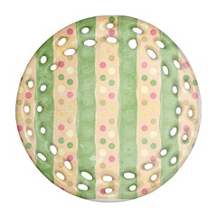 Seamless Colorful Dotted Pattern Round Filigree Ornament (2side)