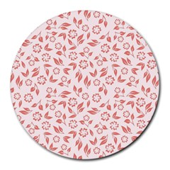 Red Seamless Floral Pattern Round Mousepads
