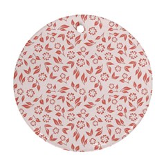 Red Seamless Floral Pattern Ornament (round)