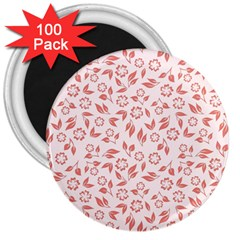 Red Seamless Floral Pattern 3  Magnets (100 Pack)