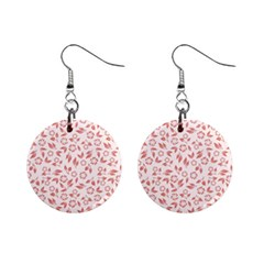Red Seamless Floral Pattern Mini Button Earrings