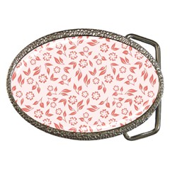 Red Seamless Floral Pattern Belt Buckles