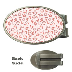 Red Seamless Floral Pattern Money Clips (oval)
