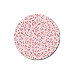 Red Seamless Floral Pattern Rubber Round Coaster (4 Pack)