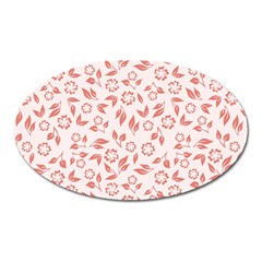 Red Seamless Floral Pattern Oval Magnet
