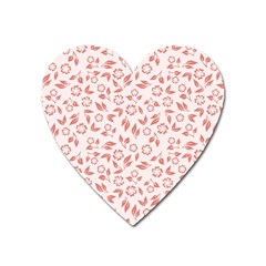 Red Seamless Floral Pattern Heart Magnet