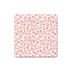 Red Seamless Floral Pattern Square Magnet