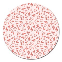 Red Seamless Floral Pattern Magnet 5  (Round)