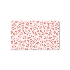 Red Seamless Floral Pattern Magnet (name Card)