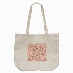 Red Seamless Floral Pattern Tote Bag (cream)