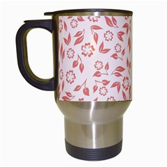 Red Seamless Floral Pattern Travel Mugs (white)