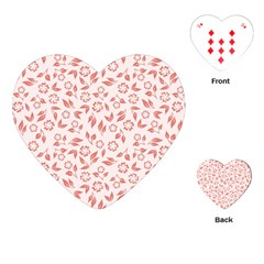 Red Seamless Floral Pattern Playing Cards (heart)
