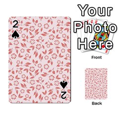 Red Seamless Floral Pattern Playing Cards 54 Designs