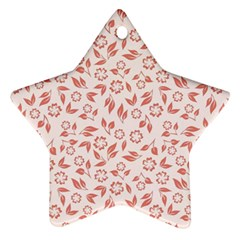 Red Seamless Floral Pattern Star Ornament (Two Sides)