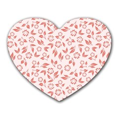 Red Seamless Floral Pattern Heart Mousepads
