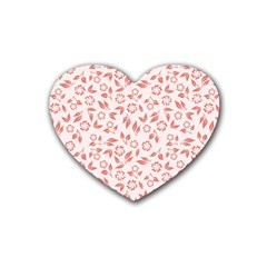 Red Seamless Floral Pattern Heart Coaster (4 Pack)
