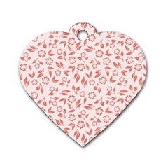Red Seamless Floral Pattern Dog Tag Heart (one Side)