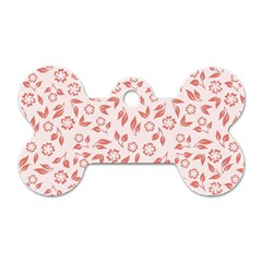 Red Seamless Floral Pattern Dog Tag Bone (one Side)