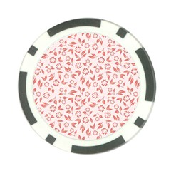 Red Seamless Floral Pattern Poker Chip Card Guards (10 Pack)