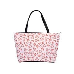 Red Seamless Floral Pattern Shoulder Handbags