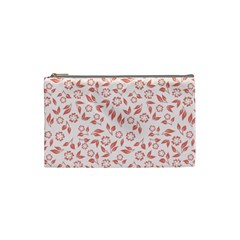 Red Seamless Floral Pattern Cosmetic Bag (small)