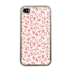 Red Seamless Floral Pattern Apple iPhone 4 Case (Clear)