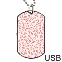 Red Seamless Floral Pattern Dog Tag USB Flash (Two Sides)