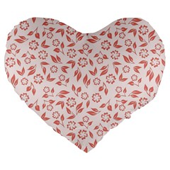 Red Seamless Floral Pattern Large 19  Premium Flano Heart Shape Cushions