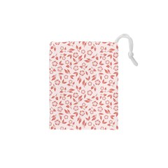 Red Seamless Floral Pattern Drawstring Pouches (XS)