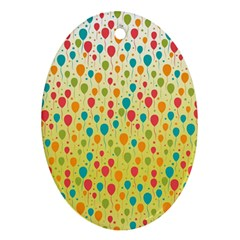 Colorful Balloons Backlground Oval Ornament (Two Sides)