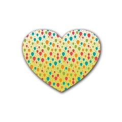 Colorful Balloons Backlground Rubber Coaster (heart)