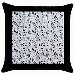 Hand Painted Floral Pattern Throw Pillow Case (black)