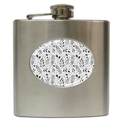 Hand Painted Floral Pattern Hip Flask (6 Oz)