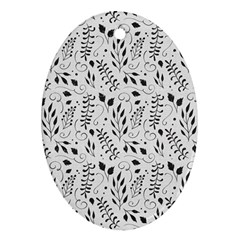 Hand Painted Floral Pattern Oval Ornament (two Sides)