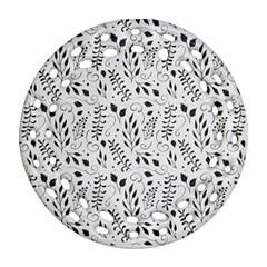 Hand Painted Floral Pattern Round Filigree Ornament (2side)