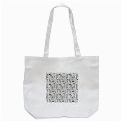 Hand Painted Floral Pattern Tote Bag (White)