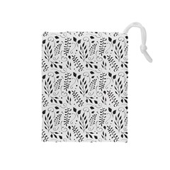 Hand Painted Floral Pattern Drawstring Pouches (Medium)
