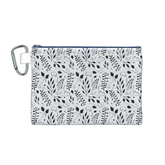 Hand Painted Floral Pattern Canvas Cosmetic Bag (M)