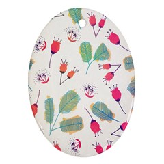 Hand Drawn Flowers Background Ornament (Oval)