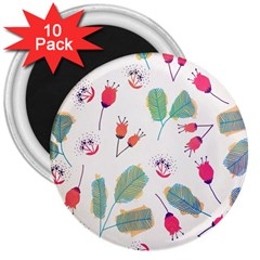 Hand Drawn Flowers Background 3  Magnets (10 pack)