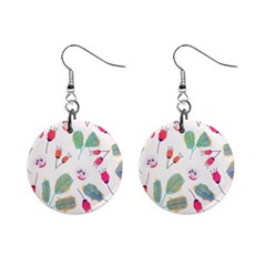 Hand Drawn Flowers Background Mini Button Earrings