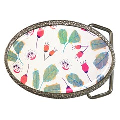Hand Drawn Flowers Background Belt Buckles