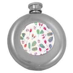 Hand Drawn Flowers Background Round Hip Flask (5 oz)