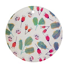 Hand Drawn Flowers Background Round Ornament (Two Sides)